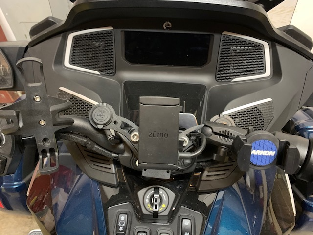 Shown with Optional Phone Holder & GPS Mount, Optional Cup Holder